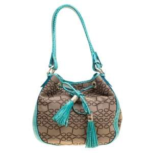 Lancel Brown/Aqua Green Signature Canvas and Leather Shoulder Bag