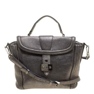 Lancel Metallic Grey Leather Satchel