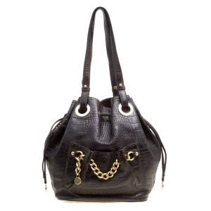 Lancel Dark Brown Croc Embossed Leather Drawstring Bucket Bag