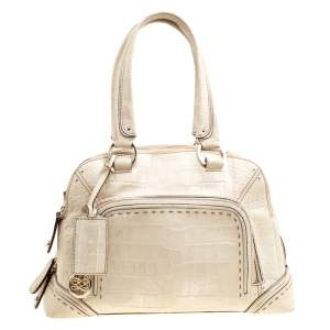 Lancel Light Green Croc Embossed Leather Mademoiselle Adjani Dome Satchel