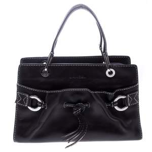 Lancel Dark Purple Leather Tote