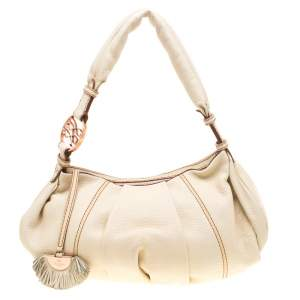 Lancel Cream Leather Hobo