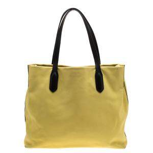 Lancel Yellow And Black Leather Tote
