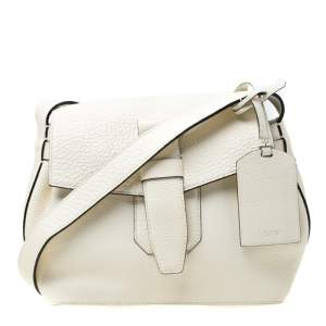 Lancel White Leather Small Charlie Top Handle Bag