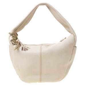 Lancel Light Cream Leather Tassel Hobo