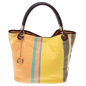 Lancel Multicolor Stripe Canvas French Flair Tote