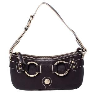 Lancel Dark Brown Leather Shoulder Bag