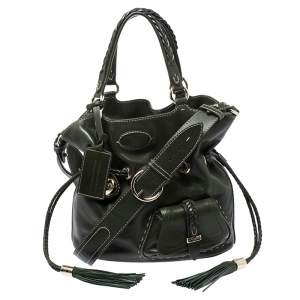 Lancel Green Leather Premiere Flirt Bucket Shoulder Bag