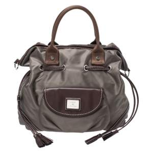 Lancel Olive Green/Brown Nylon and Leather Drawstring Hobo