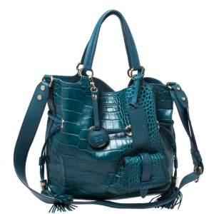 Lancel Ocean Blue Croc Embossed Leather Premiere Flirt Bucket Shoulder Bag