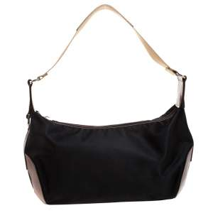 Lancel Black/Brown Nylon and Leather Small Miss Bowling Shoulder Bag