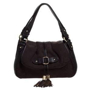 Lancel Brown Canvas and Leather Tassel Flap Shoulder Bag