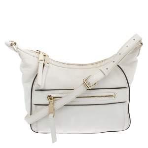 Lancel White Leather Front Pocket Shoulder Bag