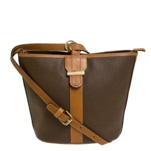 Lancel Brown Leather Bucket Bag
