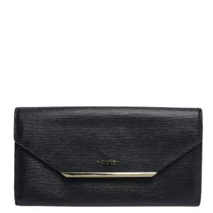 Lancel Black Leather Envelope Flap Wallet