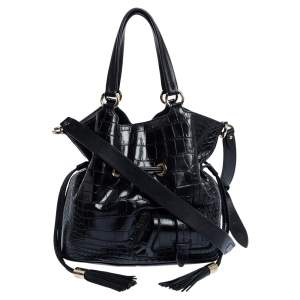 Lancel Black Croc Embossed Leather Premiere Flirt Bucket Shoulder Bag