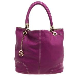Lancel Magenta Leather French Flair Tote