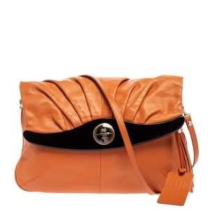 Lancel Orange Pleated Leather Flap Tassel Shoulder Bag
