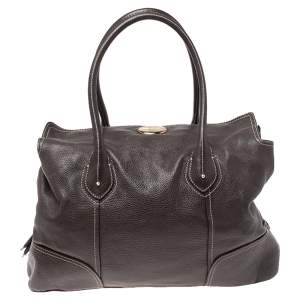 Lancel Dark Brown Soft Leather Lou Yetu Satchel