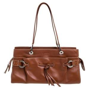 Lancel Brown Leather Front Pocket Satchel