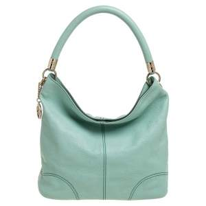 Lancel Mint Green Grained Leather Flair Hobo