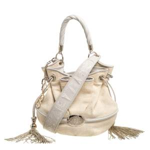 Lancel Beige/Cream Tweed and Leather Le Brigitte Bardot Hobo