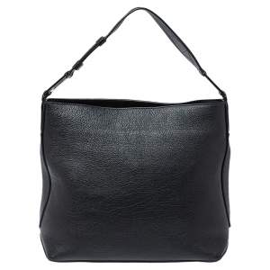 Lancel Black Leather Top Zip Hobo
