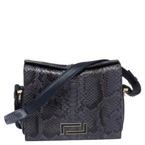 Lancel Blue Python Pia Shoulder Bag