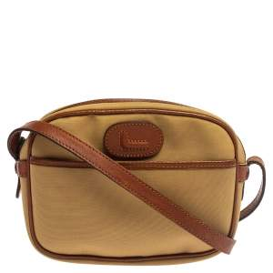 Lancel Beige/Brown Canvas And Leather Crossbody Bag