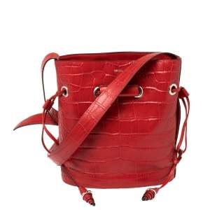 Lancel Red Croc Embossed Leather Le Huit Bucket Bag