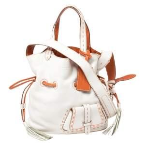 Lancel White/Orange Leather Premiere Flirt Bucket Bag