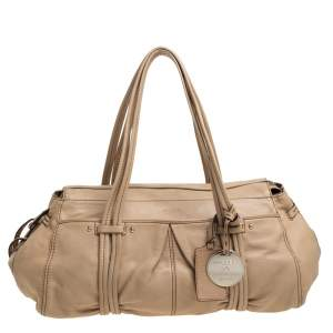 Lancel Beige Leather Zip Satchel