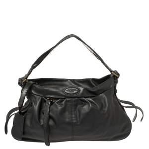 Lancel Black Leather Front Pocket Hobo