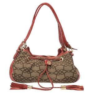 Lancel Brown/Red Signature Canvas and Croc Embossed Leather Shoulder Bag