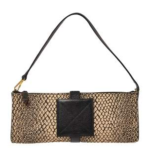 Lancel Beige/Black Python Printed Canvas and Leather Baguette