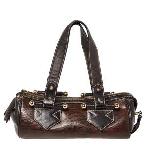 Lancel Brown Lizard and Leather Satchel
