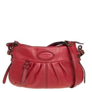 Lancel Red Pleated Leather Shoulder Bag