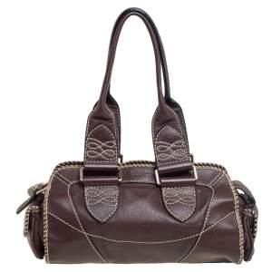 Lancel Mocha Brown Whipstitch Leather Side Pocket Satchel
