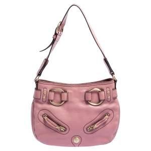 Lancel Pink Grained Leather Buckle Hobo