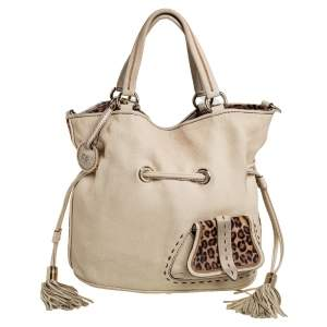 Lancel Cream Pebbled Leather Premiere Flirt Bucket Bag