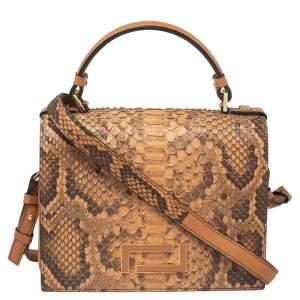 Lancel Tan Python and Leather Flap Top Handle Bag