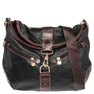 Lancel Black/Brown Studded Leather Shoulder Bag