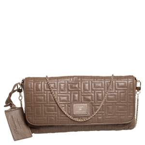 Lancel Brown Quilted Leather Flap Chain Shoulder Bag