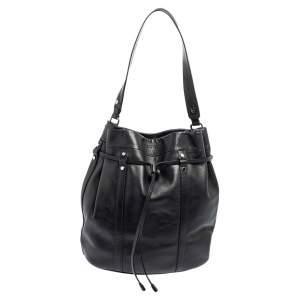 Lancel Black Leather Bucket Hobo