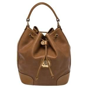 Lancel Brown Leather Drawstring Bucket Bag