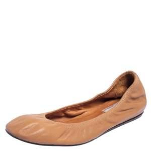 Lanvin Brown Leather Scrunch Ballet Flats Size 38.5