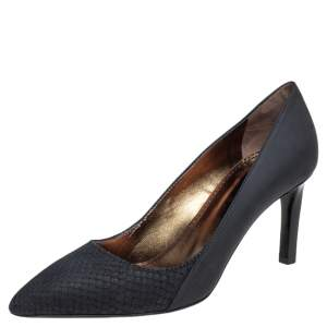 Lanvin Black Leather and Python Embossed Leather Pointed Toe Pumps Size 36.5