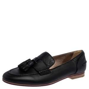 Lanvin Black Leather Tassel Loafers Size 36.5