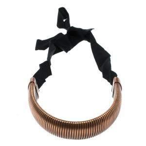 Lanvin Flexible Bronze Tone Tube Black Ribbon Tie-up Necklace