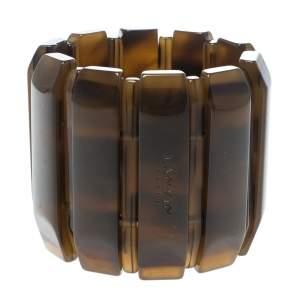 Lanvin Brown Plastic Polyester Elastic Wide Cuff Bracelet